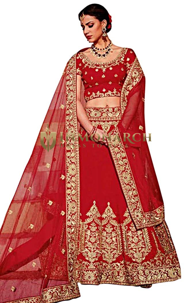 Designer Art Silk Red Lehenga Choli