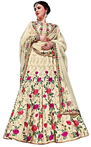 Ivory Royal Art Silk Wedding Lehenga