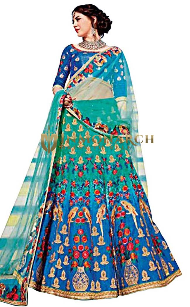 Traditional Steel Blue Art Silk Lehenga Choli