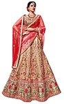 Flower Design Peach Art Silk Lehenga Choli