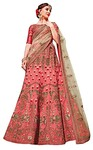 Salmon Art Silk Bridal Lehenga Choli