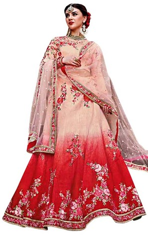 Shaded Red and Ivory Designer Lehenga