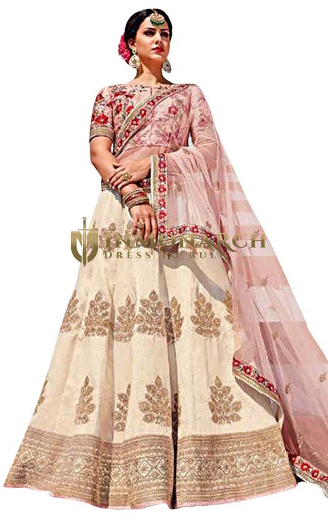 Beige and Cream Art Silk Wedding Lehenga Choli