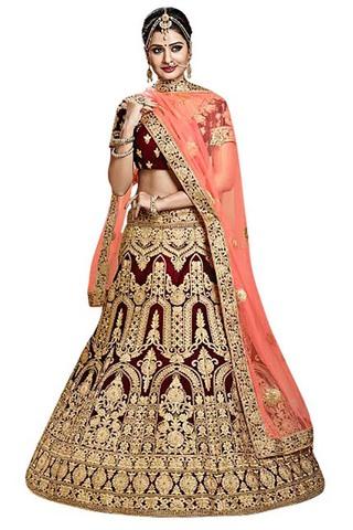 Indian Wedding Maroon Velvet Lehenga