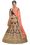 Indian Wedding Maroon Velvet Lehenga