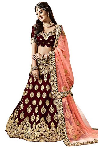 Ethnic Red Velvet Wedding Lehenga Choli