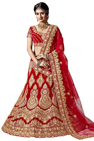 Traditional Red Velvet Lehenga Choli