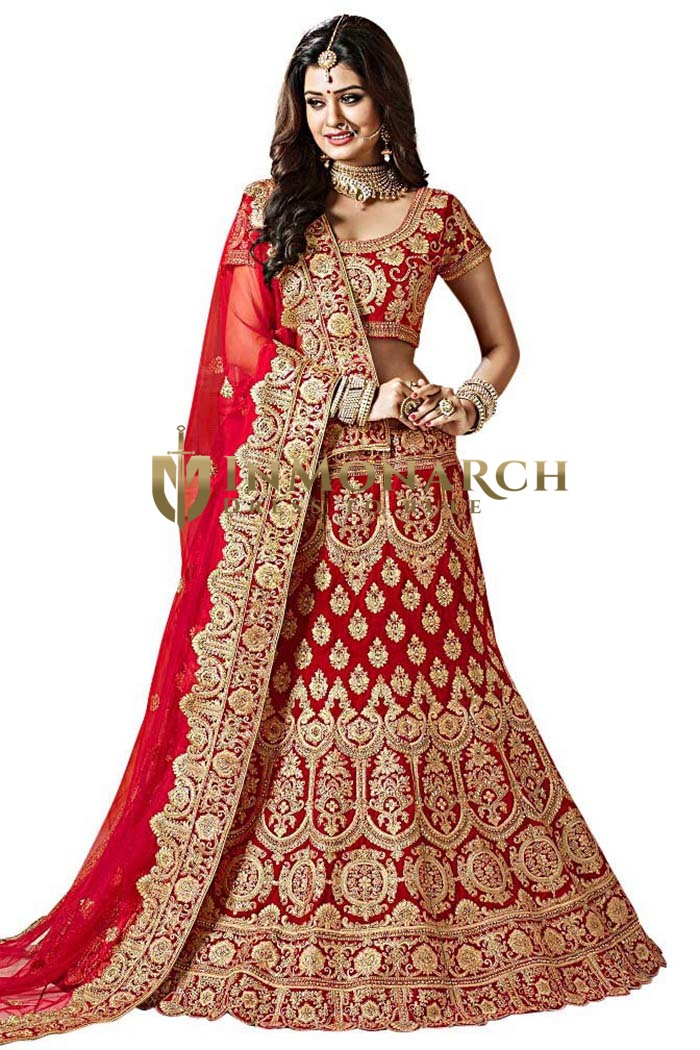 Designer Work Red Velvet Bridal Lehenga
