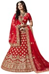 Heavy Work Crimson Velvet Lehenga Choli