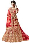 Indian Bridal Maroon Velvet Lehenga Choli