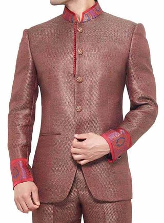 Mens Red Jute Nehru Jacket Bandhgala madarin collar jacket