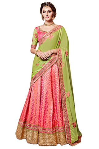 Pink and Light Green Georgette Silk Saree