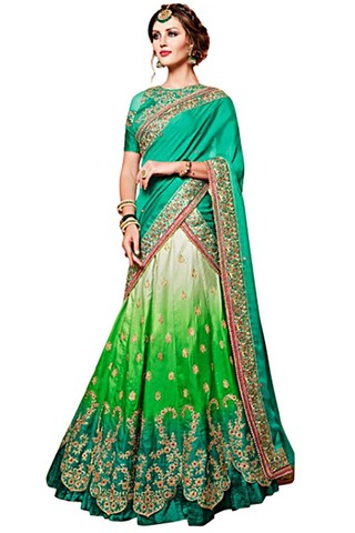 Teal and Green Satin Chiffon Lehenga Saree