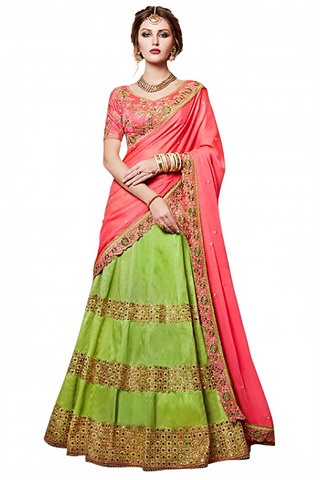 Green Handloom Silk Lehenga Saree