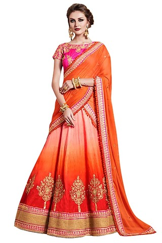 Shaded Orange Silk Lehenga Style Saree