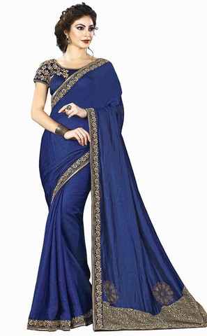 Royal Blue Dual Tone Silk Bridal Saree