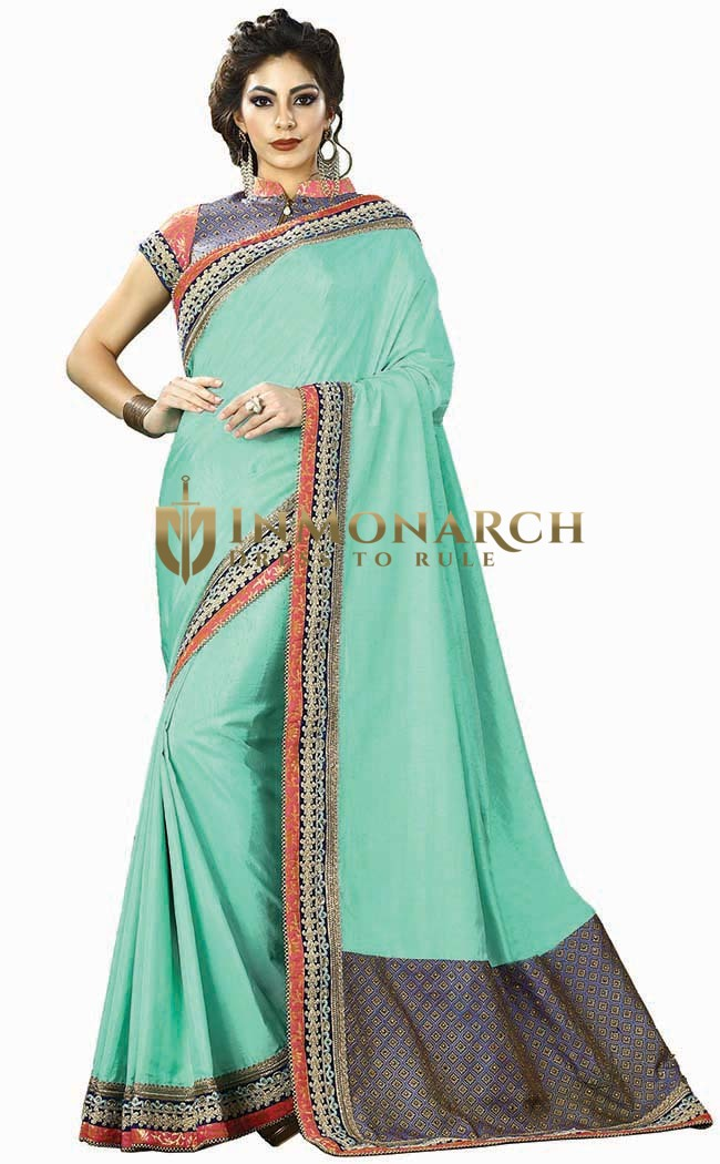 Turquoise Dual Tone Silk Bridal Saree