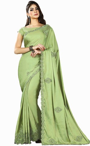 Lime Green Dual Tone Silk Partywear Saree