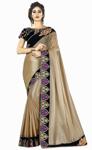 Golden Lycra Indian Wedding Saree