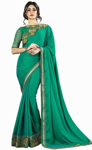 Ethnic Teal Chiffon Partywear Saree