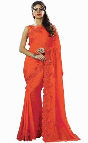 Orange Dual Tone Silk Bollywood Saree