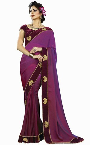 Magenta Two Tone Silk Bridal Saree