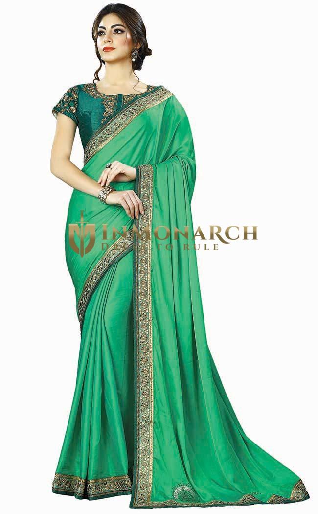 Light Green Two Tone Silk Wedding Saree