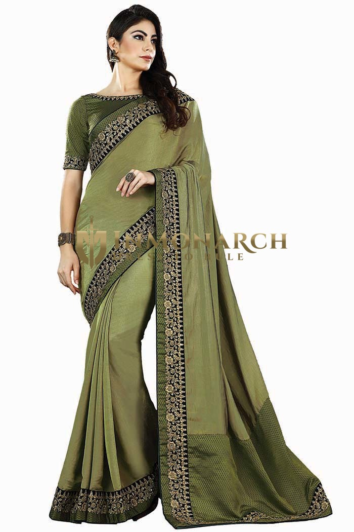 Olive Drab Two Tone Silk Bollywood Saree