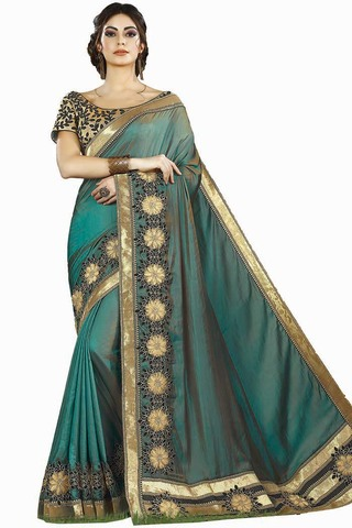 Teal Two Tone Silk Bridal Saree