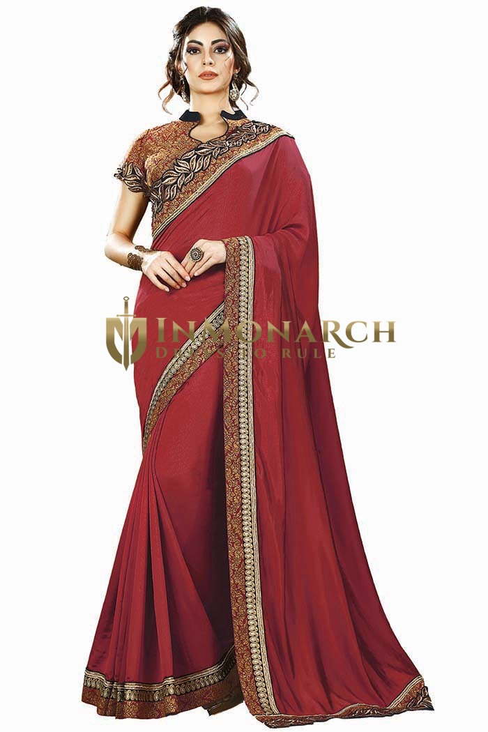 Burgundy Two Tone Silk Partywear Saree