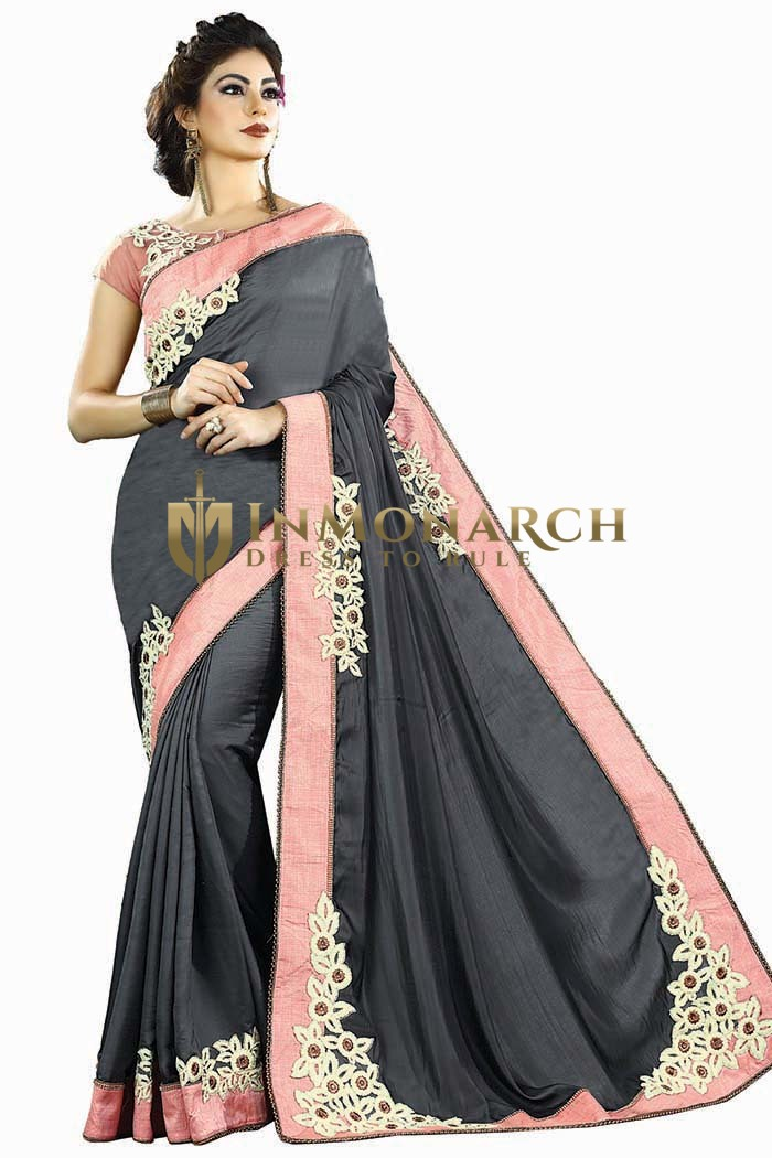 Gray Two Tone Silk Bollywood Saree