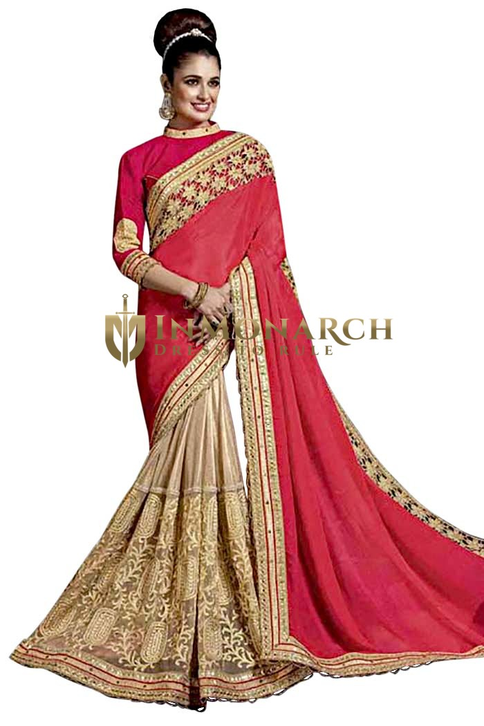Beige and Crimson Red Chiffon Bridal Saree