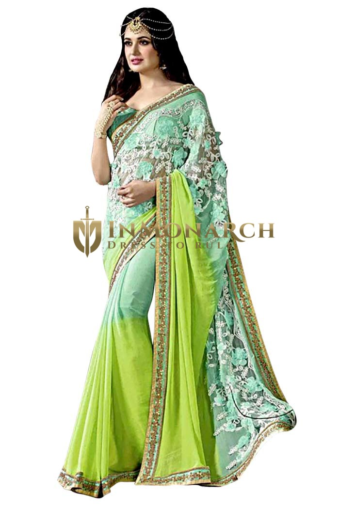 Turquoise and Light Green Faux Chiffon Saree