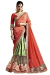 Light Green and Red Chiffon Georgette Saree