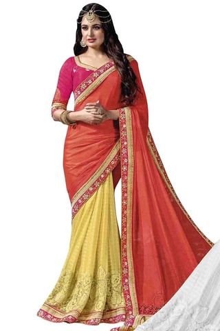 Yellow and Red Chinnon Chiffon Bridal Saree