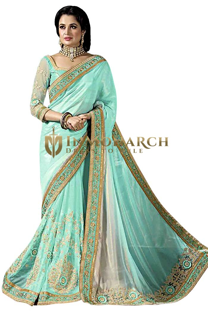 Turquoise Crepe and Net Partywear Saree