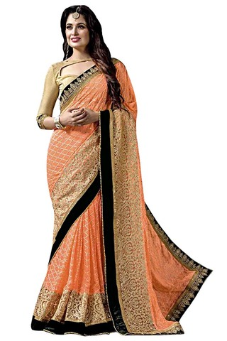 Peach Faux Chiffon Bollywood Saree