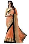 Peach Faux Chiffon Bollywood Saree