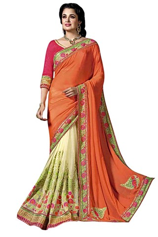 Cream and Orange Chiffon Net Bollywood Saree