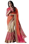 Cream and Orange Chiffon Partywear Saree
