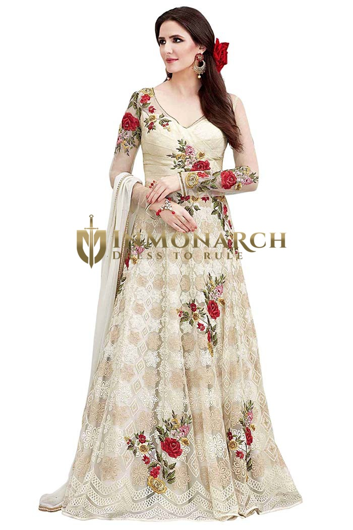 Indian Wedding Net Cream Anarkali Suit