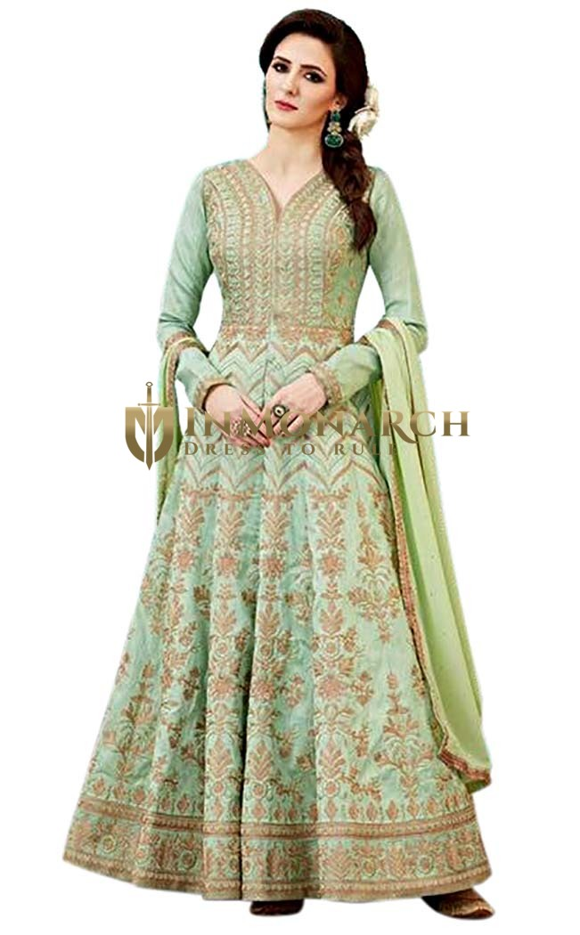Green Australian Fabric Bridal Anarkali Suits