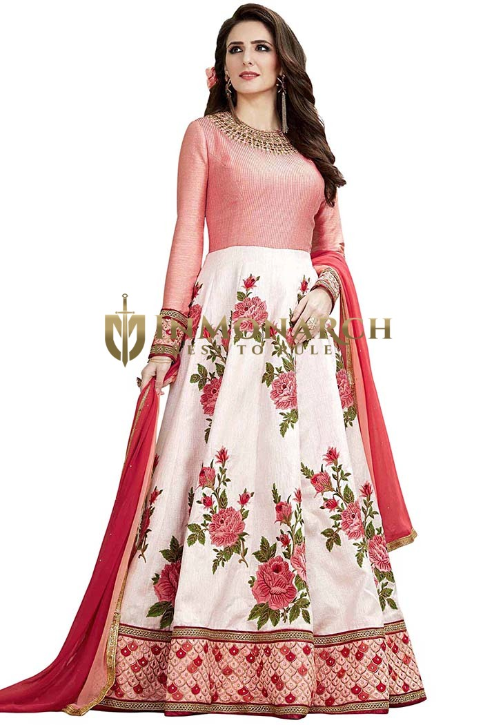 Off White and Red Wedding Anarkali Suit