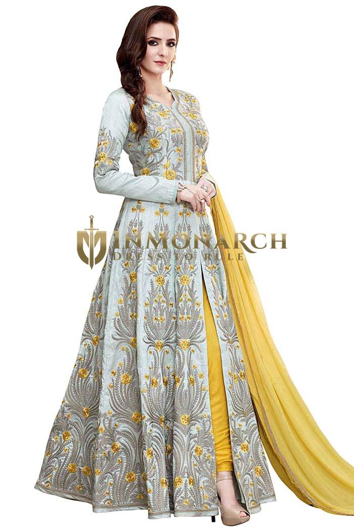 Sky Blue Embroidered Anarkali Suits
