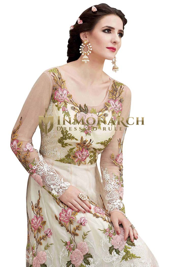 Cream Net Embroidered Anarkali Suits