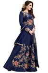 Embroidered Navy Blue Anarkali Suits