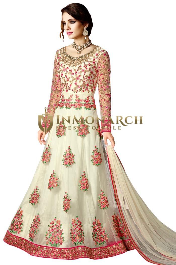Partywear Cream Net Anarkali Style Suit