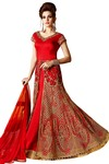 Embroidered Net Bright Red Anarkali Suit