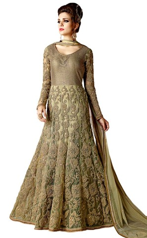 Embroidered Golden Net Anarkali Suit