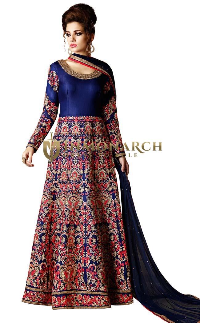 Navy Blue Mulberry Silk Anarkali Suit